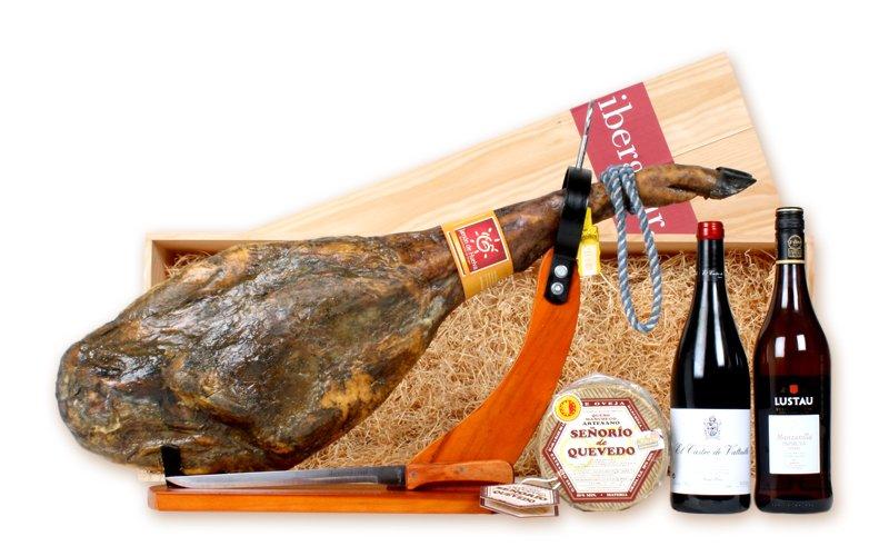 panier papirusa jambon ib rique pata negra fromage et vin ibergour. Black Bedroom Furniture Sets. Home Design Ideas