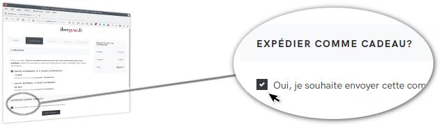 Page web où nous vous demanderons si vous souhaitez envoyer la commande comme cadeau
